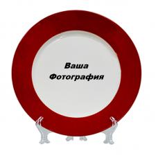 Фото на тарелку с красной обводкой